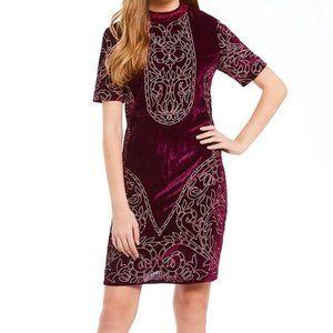 Chelsea & Violet Wine Velvet Embroidered Dress